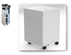 Fixed Height Printer Stand & Cabinet Combination with Casters for Lexmark and Dell Printers
