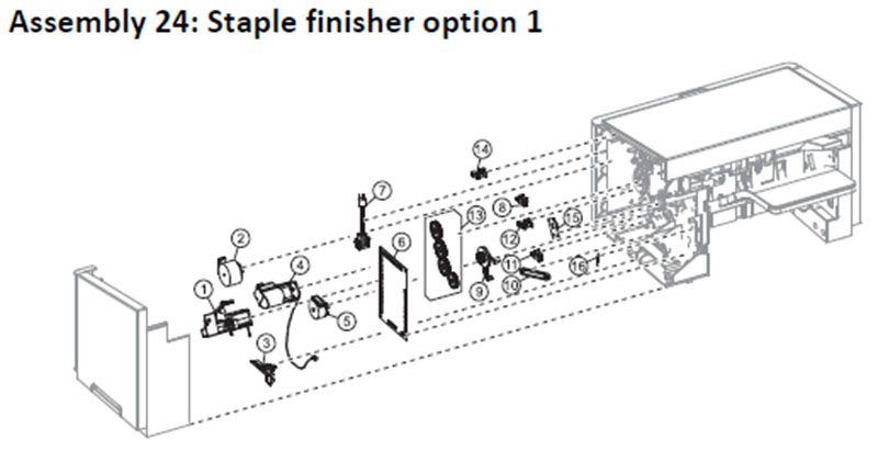 Lexmark MS810 Assembly 24: Staple Finisher Option 1