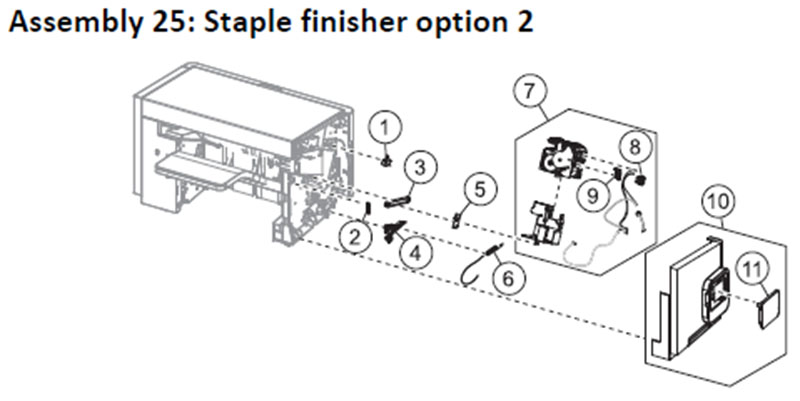 Lexmark MS810 Assembly 25: Staple Finisher Option 2