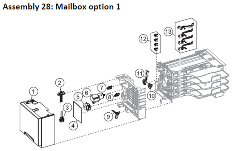 Lexmark MS810 Assembly 28: Mailbox Option 1