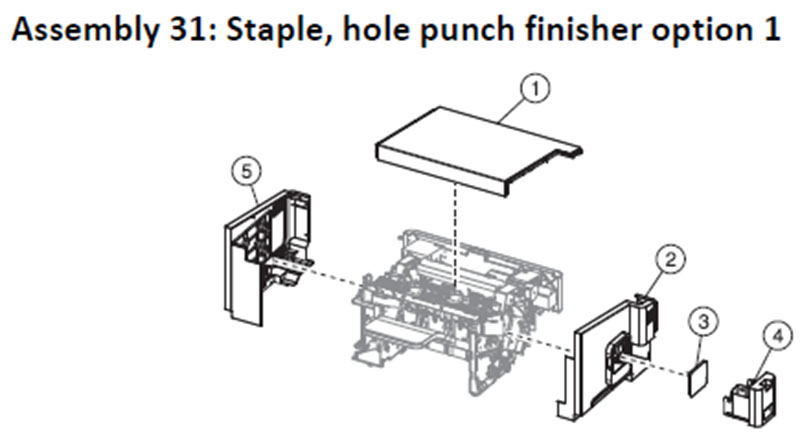 Lexmark MS810 Assembly 31: Staple, Hole Punch Finisher Option 1