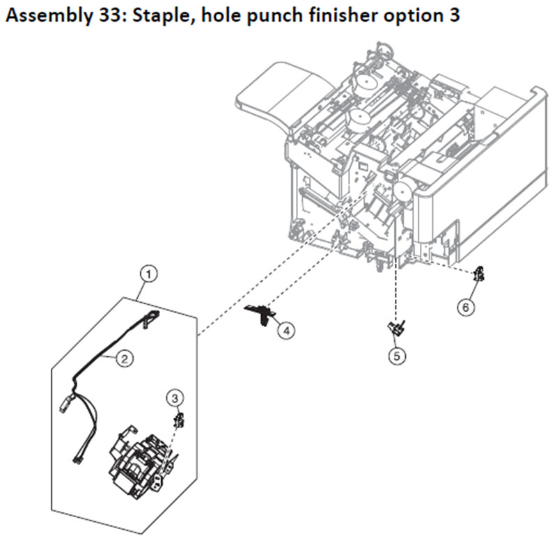 Lexmark MS810 Assembly 33: Staple, Hole Punch Finisher Option 3