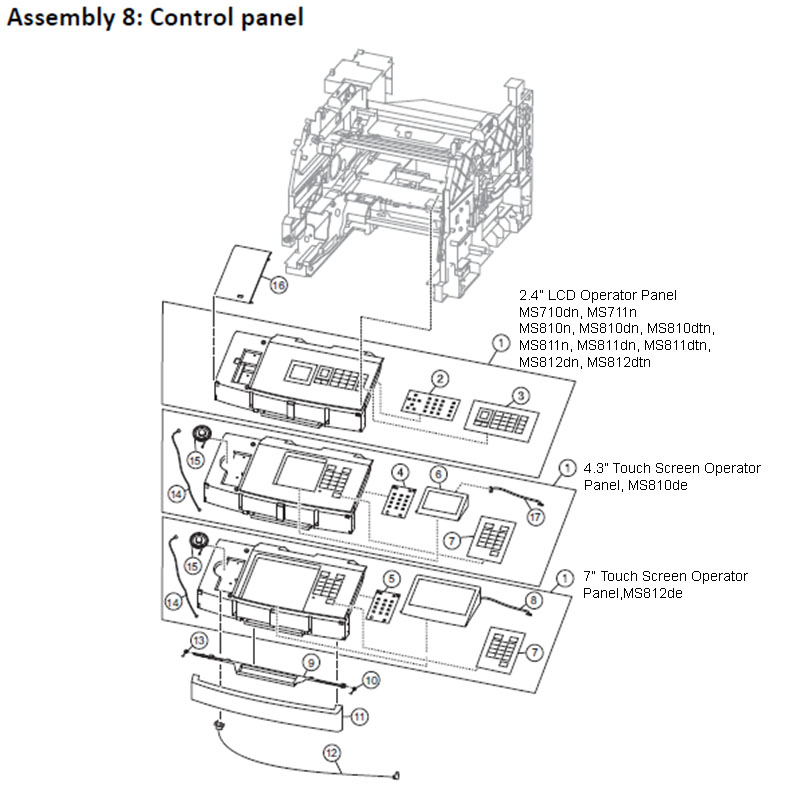 Lexmark MS810 Assembly 8: Control Panel